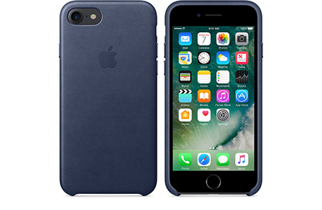 Чехол Apple Leather Case для iPhone 7 Plus (midnight blue, темно-синий)