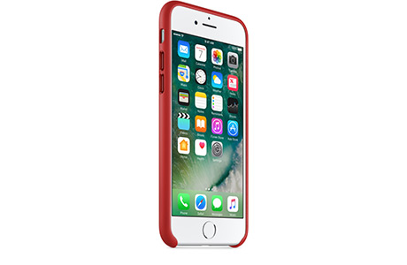 Чехол Apple Leather Case для iPhone 7 (red, красный)