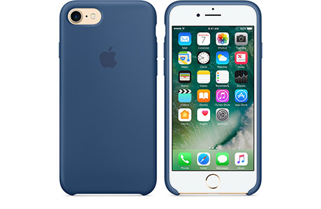 Чехол Apple Silicon Case для iPhone 7 (ocean blue, глубокий синий)