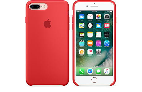 Чехол Apple Silicon Case для iPhone 7 Plus (red, красный)