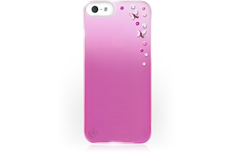 Чехол Bling Butterflies Pink Metallic Mirror для iPhone SE / 5s / 5