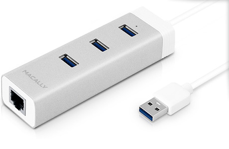 Адаптер Macally 3 × USB 3.0 + Gigabit Ethernet