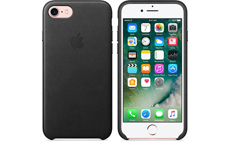 Чехол Apple Leather Case для iPhone 8 Plus / 7 Plus (черный)