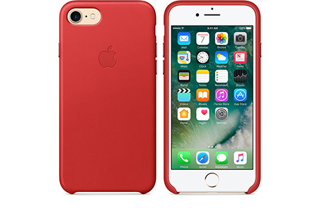 Чехол Apple Leather Case для iPhone 7 Plus (red, красный)