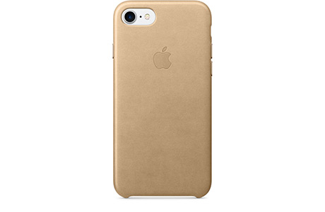 Чехол Apple Leather Case для iPhone 7 (tan, миндальный)