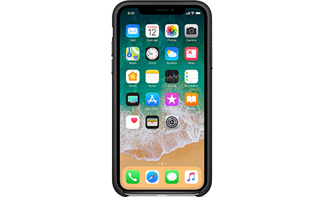 Чехол Apple Leather Case для iPhone X (черный)