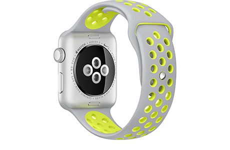Наручные часы Apple Watch Nike+ 38 мм, алюминий, серебристо-салатовый спортивный ремешок Nike (серебристые)