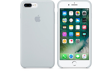 Чехол Apple Silicon Case для iPhone 8 Plus (голубой дым)