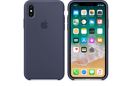 Чехол Apple Silicone Case для iPhone X (тёмно-синий)